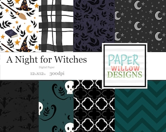 A Night for Witches-12x12 Digital Papers-Instant Download-Small Commercial Use