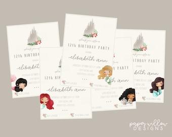 Mermaid-Sandcastle, Birthday, Invitation-Printable, Edit using Corjl, Little Mermaid Party, Under the Sea Invite, Beach Themed Birthday