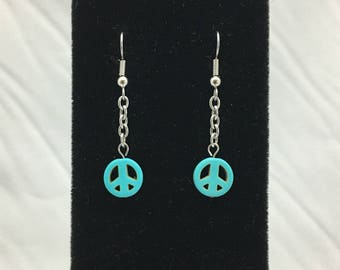 Peace Tiny Reconstructed Turquoise Peace Symbol Dangle Earrings