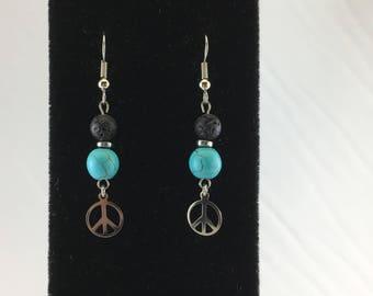Peace Turquoise Magnesite and Lava Stone Peace Symbol Dangle Earrings