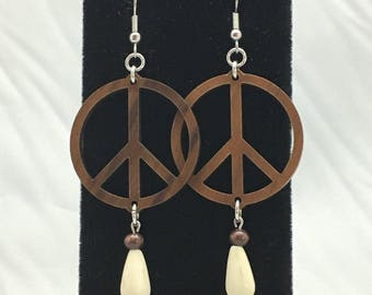 Peace White Magnesite and Wooden Peace Symbol Dangle Earrings