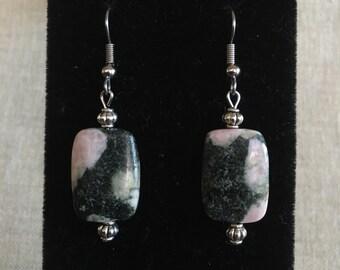 Striped Rhodonite Gemstone Dangle Earrings