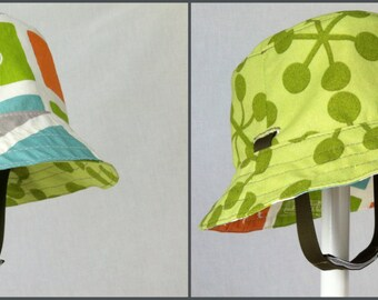 Reversible Sun Hat with Chin Strap - City Block - Infant/Kids (bucket hat)