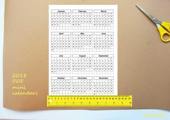 2018 calendars printable mini for crafts planners pdf file etsy