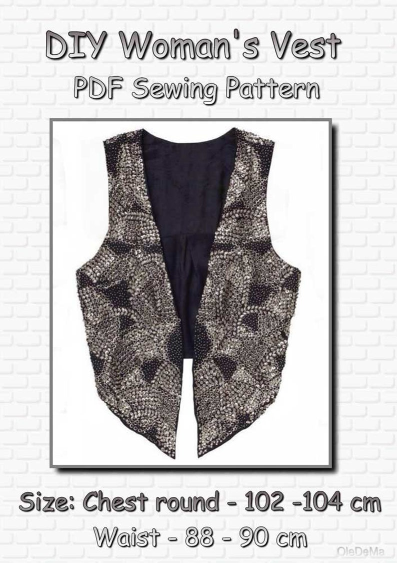 DIY women's waistcoat, full size sewing pattern for A4 printing, in PDF  format