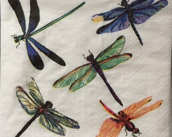 1022 DRAGONFLIES DRAGONFLY TWO Individual Paper Luncheon Decoupage Napkins