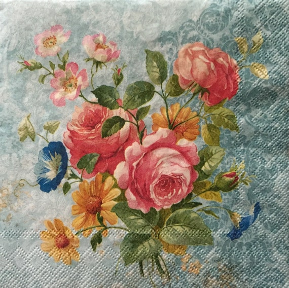 Paper Napkins Decoupage//3ply,//Flowers// Scrapbook8ng//Card Making x 2