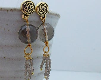 Smokey Quartz, Drop Earrings, made in Scotland, Gift for Her, Celtic Style