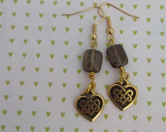 Smokey Quartz, drop earrings, gift for her, made in scotland