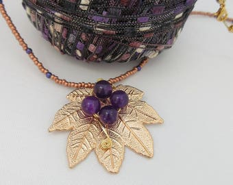 Statement Necklace, Leaf Pendant, Gift for Her, made in Scotland, unique jewellery, one of a kind