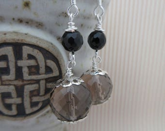 Smokey Quartz, Drop Earrings, made in Scotland, gift for her