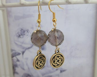 Smokey Quartz, Drop Earrings, Celtic, made in Scotland, Gift fror Her