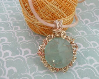 Green, handcrafted pendant, fluorite, gemstone jewellery, made in Scotland, gift for her