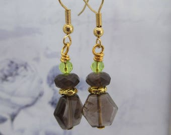 Smokey Quartz, Drop Earrings, Gift for Her, made in scotland, one of a kind jewellery