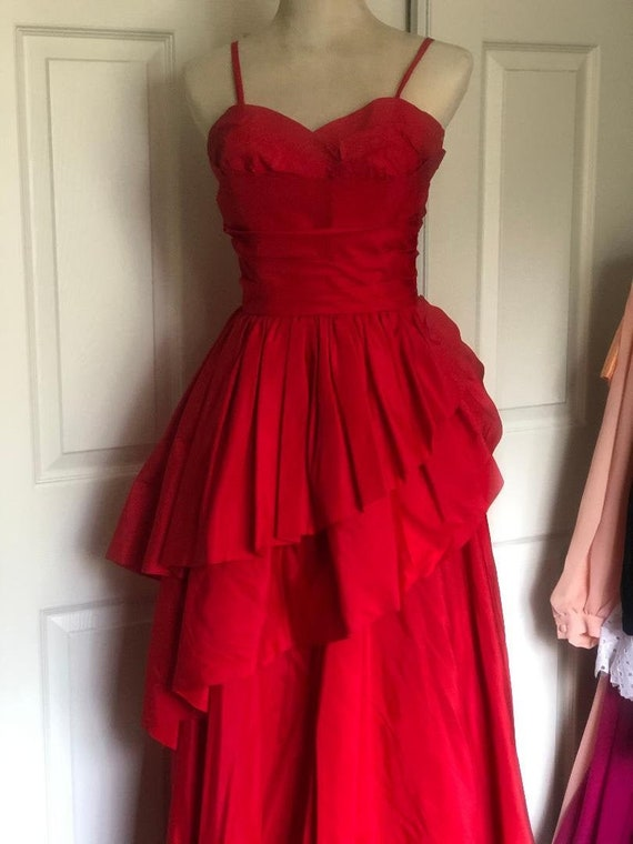 Stunning 1950's I.L.G.W.U. Red Evening Dress