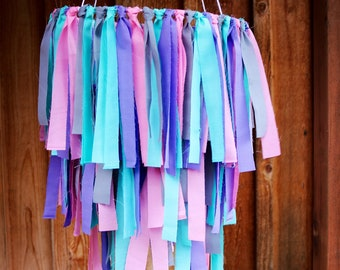 Fabric Chandelier, Fabric Mobile, Nursery Decor, Wedding Decor, Kids Decor, Girl Decor, Play room, Tassel Mobile, Mobile, Home Decor