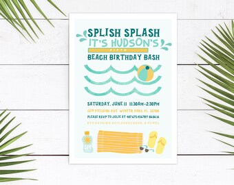 Beach Party Invitation // Beach Birthday Party // Pool Party Invitations // Printable Beach Theme Birthday Party Invitation // The Hudson