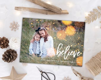 Believe Christmas Card // Photo cards // Whimsical Christmas Cards // Digital Holiday Card // Family photo holiday cards // The Hughes