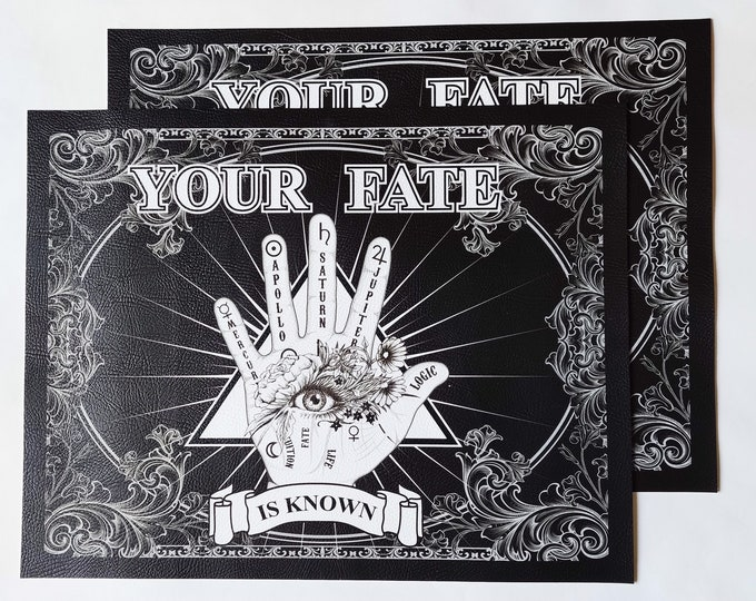 Palmistry Halloween Decor Place Mat- Vegan Leather Black and White