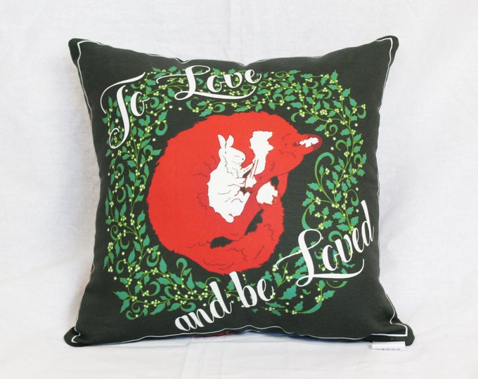 Christmas Green Fox and Bunny square throw pillow- Love and Be Loved