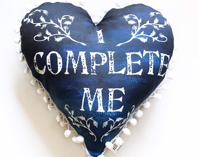 I Complete Me Heart Pillow- with pom pom edge