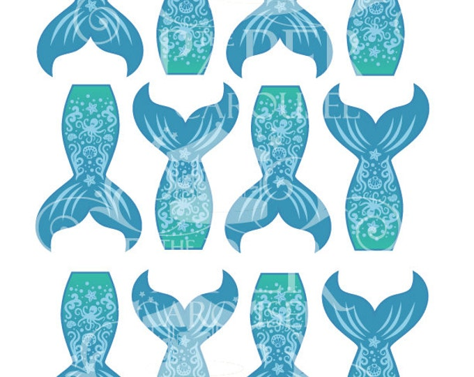 Digital Download Mermaid Tail Cupcake Topper- Blue, Green