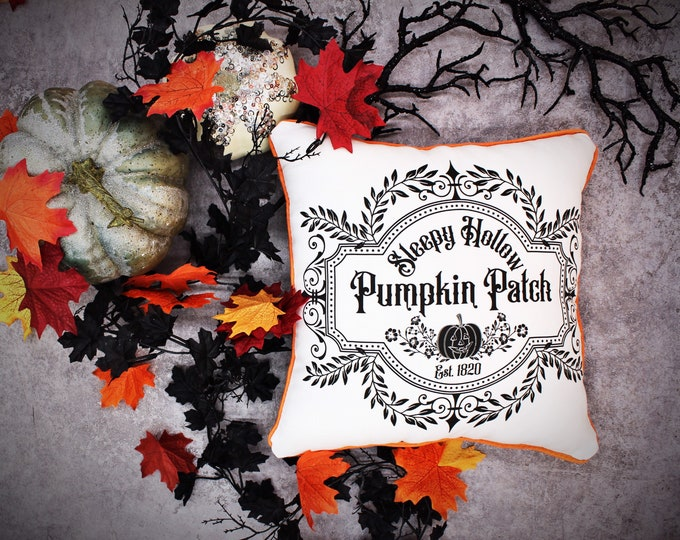 Sleepy Hollow Pumpkin Patch Throw Pillow