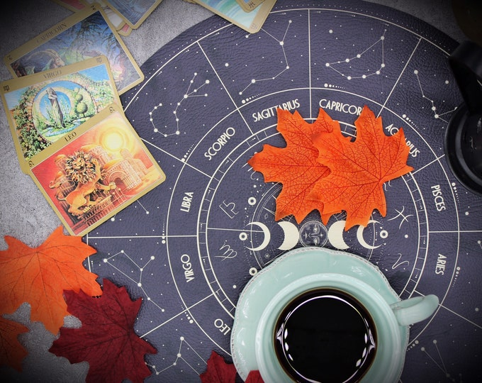 Navy Blue Astrology Halloween Decor Place Mat- Vegan Leather