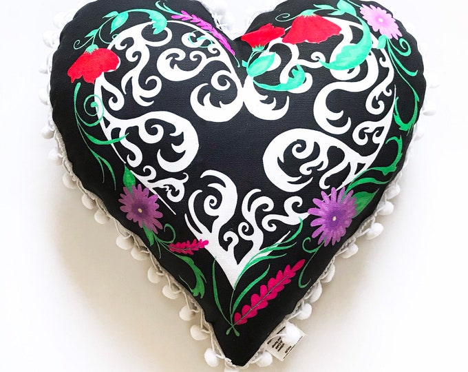 Black Valentines Heart Pillow- with pom pom edge