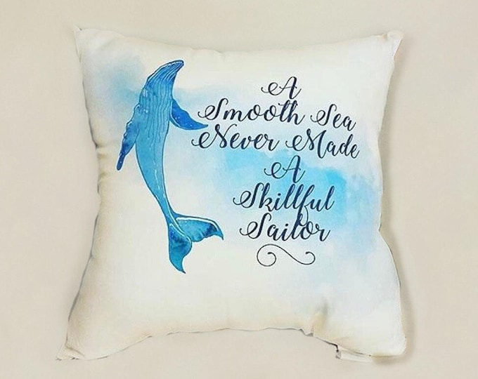 Watercolor Whale Blue Square Throw Pillow