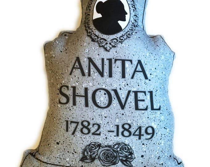 Halloween decor Tombstone Pillow - Anita Shovel