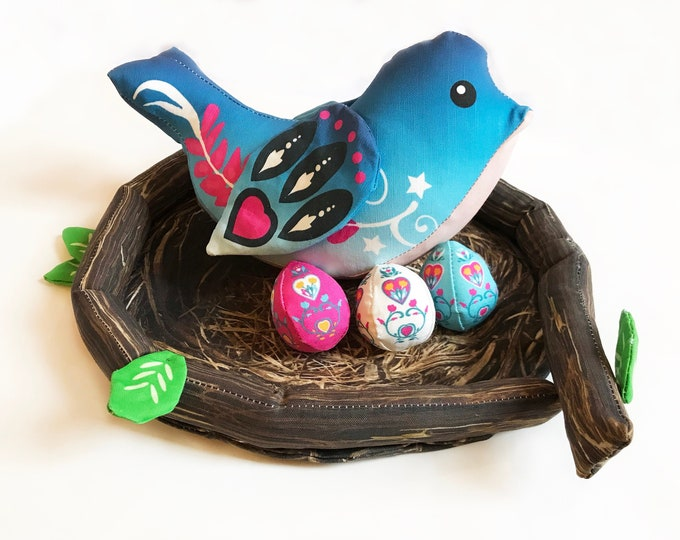 Blue Bird Nest and Eggs- Spring Time Lovie Play Bird