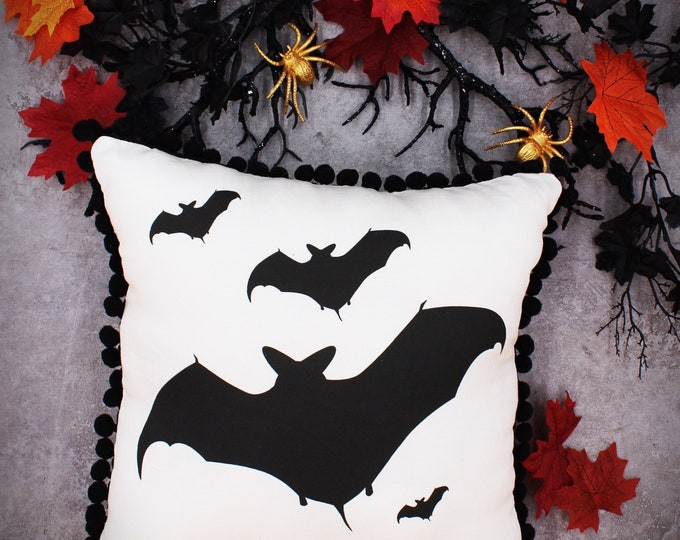 Bat Silhouette Throw Pillow- pom pom edge