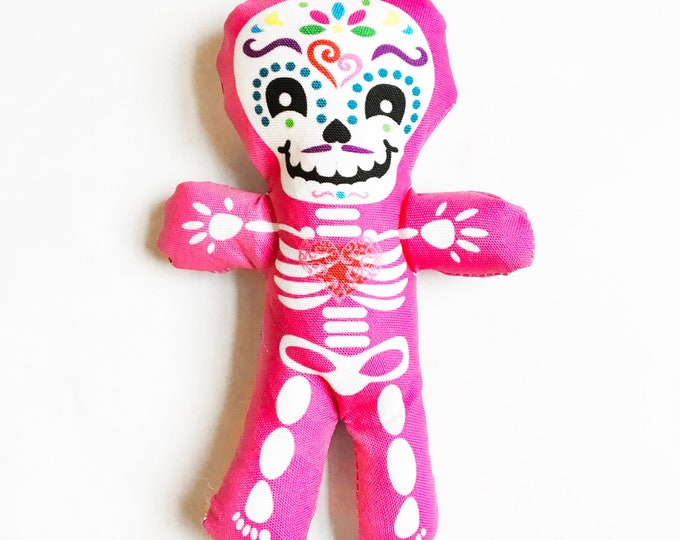 "Day of the Dead decor - Halloween 7"" skeleton fun individual Pink doll"