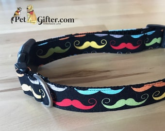Dog Collar Moustaches, Moustache Fabric, Dog Collar for Boys, Fancy Fellows, Dapper Dogs, Moustache Dog Collar, Fabric Dog Collar