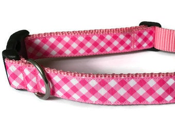 Dog Collar Plaid, Pink Dog Collar, Pretty in Pink, Pink Plaid, Girlish Dog Collar, Plaid Ribbon, Plaid Collar, White and Pink