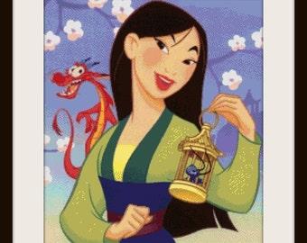 Amazing Princess Mulan - cross stitch pattern, disney cross stitch, disney pattern, Mulan cross stitch - PDF pattern - instant download!