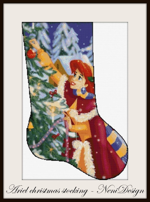 Disney Cross Stitch Christmas Stocking Patterns.Ariel Christmas Stocking Cross Stitch Pattern Disney Cross Stitch Pattern Disney Pattern Ariel Pattern Ariel Christmas Christmas