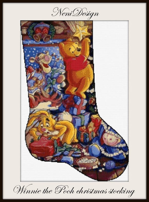Winnie The Pooh Christmas.Winnie The Pooh Christmas Stocking Cross Stitch Pattern Christmas Cross Stitch Disney Cross Stitch Disney Pattern Disney Winnie The Pooh
