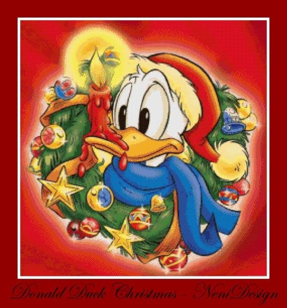 Donald Duck Christmas.Donald Duck Christmas Cross Stitch Pattern Pdf Pattern Instant Download