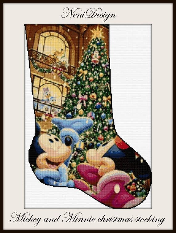 Disney Cross Stitch Christmas Stocking Patterns.Mickey And Minnie Christmas Stocking Cross Stitch Pattern Disney Cross Stitch Disney Pattern Christmas Cross Stitch Mickey And Minnie