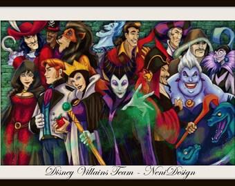 Disney Villains Team - cross stitch pattern - cross stitch Villains  - disney pattern - cross stitch disney - PDF pattern - instant download
