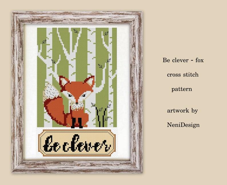 fox cross stitch pattern forest animal cross stitch fox pattern animal cross stitch animal pattern Be clever fox cross stitch fox