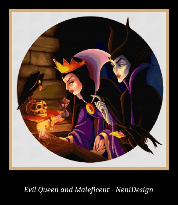 Evil Queen And Maleficent Cross Stitch Pattern Evil Queen Cross Stitch Maleficent Cross Stitch Evil Cross Stitch Disney Disney Pattern