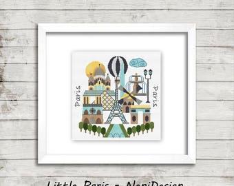Little Paris - modern cross stitch pattern - cross stitch Paris - cross stitch pattern - Paris - cross stitch - PDF pattern - digital items!