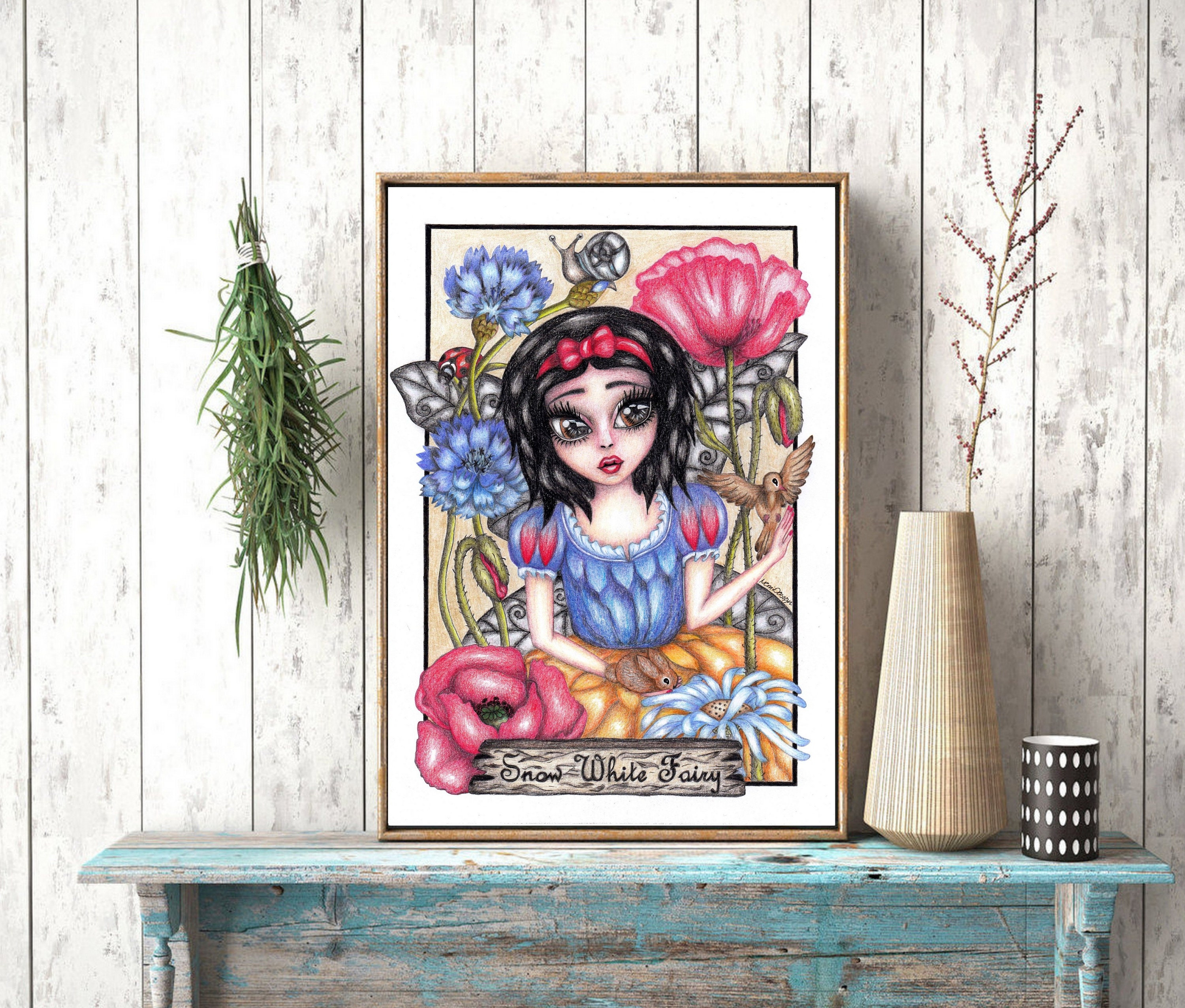 Snow white fairy pencil drawing instant download jpg file snow white drawing fairy drawing drawing room decor fantasy drawing