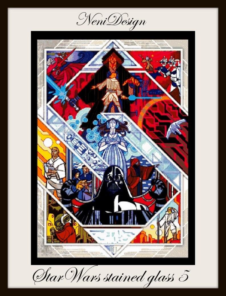 cross stitch pattern StarWars stained glass 5 Star Wars pattern cross stitch Star Wars Star Wars PDF pattern instant download!