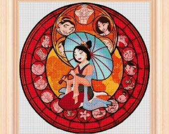Mulan stained glass circular - cross stitch pattern - cross stitch Mulan - cross stitch disney - disney - PDF pattern - instant download!