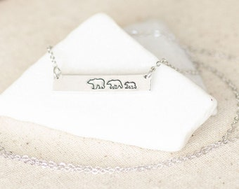 Bar Necklace for Mom - Silver Mama Bear Jewelry - Gift for Mom Necklace - Mother Bear Gift for Christmas Necklace for mommy and me