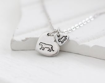Animal lover gift lioness silver necklace